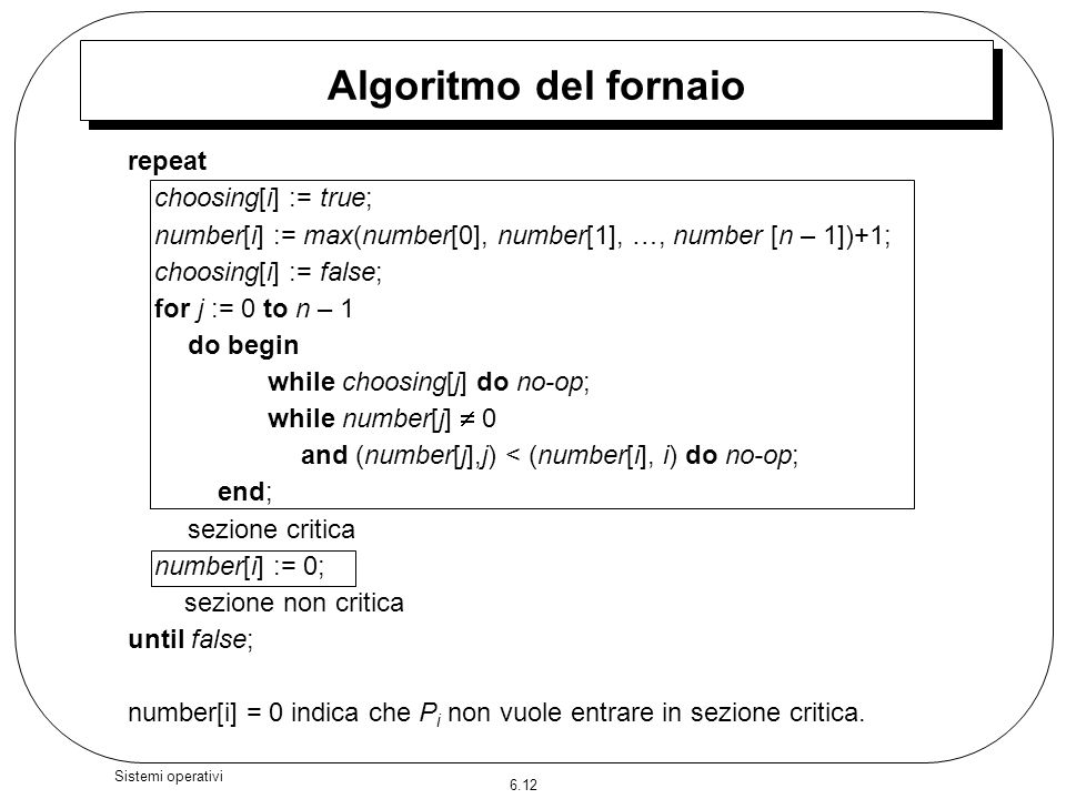 Algoritmo del fornaio repeat choosing[i] := true;
